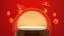 3d Rendering Of Chinese Mini Podium, Lunar New Year