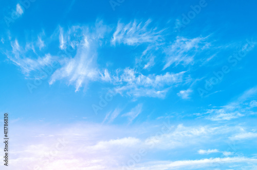 Fototapeta Dramatic blue sky background. Picturesque colorful clouds in the evening sky obraz