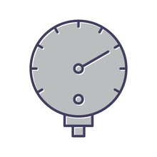 Unique Pressure Gauge Line Vector Icon