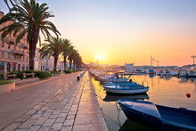 City Of Split Waterfront Golden Sunrise View