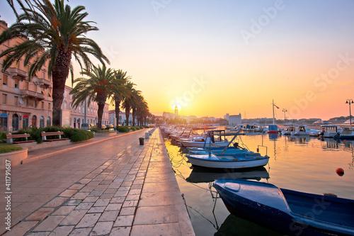 Obraz na plátně City of Split waterfront golden sunrise view