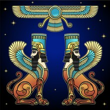 Animation Color Drawing: Magical Winged Lions, Symbol Of God. Character In Assyrian Mythology. Vector Illustration Isolated On A Black Background.