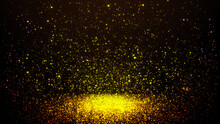 Gold Particles Abstract Background With Shining Golden Floor Particle Stars Dust. Futuristic Glittering Flickering On Black Background.