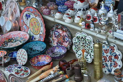 Various For Ceramics Sale At Market Stall Fototapet