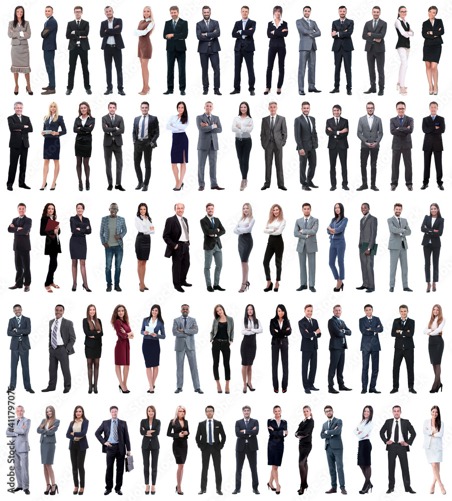 Fototapeta collage of young business people standing in a row.