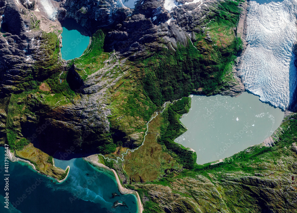 Fototapeta Satellite view of a glacier, Cabo de Hornos, Chile. Glaciar Italiano. Ice melting. Climate change. Wild nature. Element of this image is furnished by Nasa