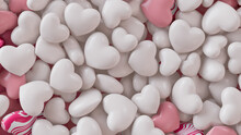 Multicolored Heart Background. Valentine Wallpaper With White And Pink Love Hearts. 3D Render