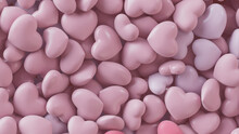 Heart Background. Valentine Wallpaper With Light Pink Love Hearts. 3D Render