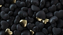 Multicolored Heart Background. Valentine Wallpaper With Black And Gold Love Hearts. 3D Render