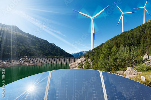 Fototapeta Renewable Energies Concept - Sunlight with solar panels. Wind with wind turbines. Rain and water with dam for hydropower. obraz
