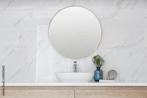 Fotografie, Obraz Modern bathroom interior with stylish mirror and vessel sink