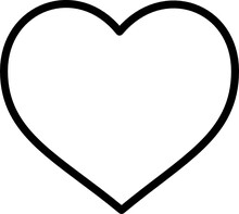 Heart Basic Black Outline Stroke Flat Modern Vector Graphic Icon Illustration Or Clipart