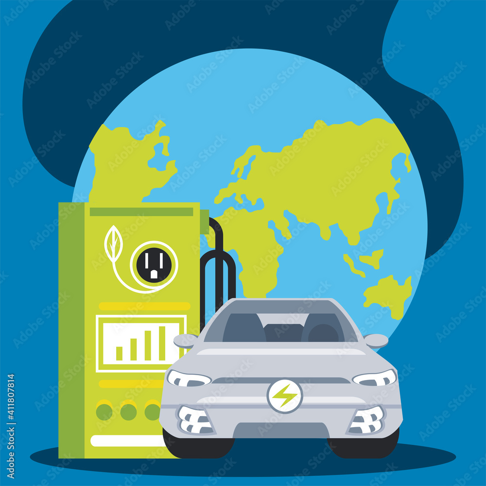 Fototapeta electric car charging station with a plug in world