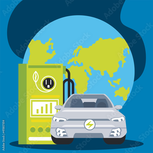 Fototapeta electric car charging station with a plug in world obraz