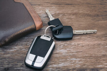 High Angle View Of Car Key On Table