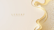 Abstract Yellow Luxury Background With Golden Line , Realistic Paper Cut Style 3d. Vector Illustration.