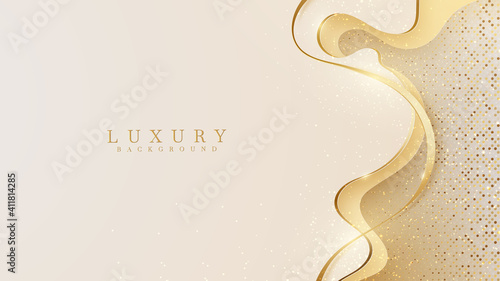 Canvas Abstract yellow luxury background with golden line , Realistic paper cut style 3d