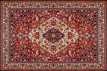 Old Red Persian Carpet Texture, Abstract Ornament