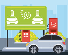 Electric Car Traffic Sign Board Charge Station Zone