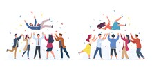 Tossing In Air. People Group Throwing Colleague, Birthday Celebrating, Victory Congratulate, Business Team Achievements, Happy Characters Rejoice In Victory Vector Cartoon Flat Set