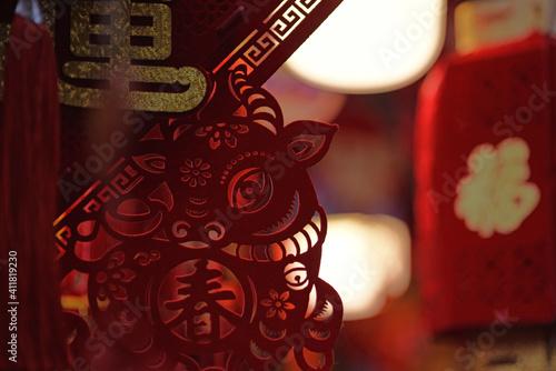 Fotografia, Obraz Decorations, handicrafts at Wanchai Market, Hong Kong, prior to Chinese Lunar Ne