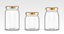 Empty Glass Jars Different Shapes With Gold Lids Isolated On Transparent Background. Vector Realistic Mockup Of Empty Clear Bottles With Screw Cap For Jam, Canning And Preserve Food