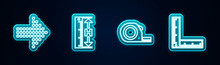Set Line Dots Arrow, Measuring Height And Length, Roulette Construction And Folding Ruler. Glowing Neon Icon. Vector.