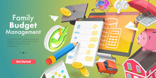 3D Vector Conceptual Illustration Of Family Budget Management, Software For Financial Calculations And Planning.