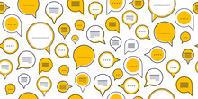 Speech Bubbles Seamless Vector Background, Endless Pattern With Dialog Signs, Talk And Discussion Theme, Social Media Communication.