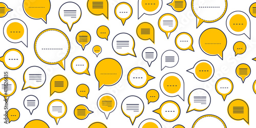 Photo Speech bubbles seamless vector background, endless pattern with dialog signs, talk and discussion theme, social media communication
