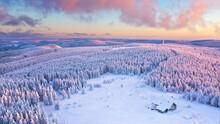 Blick über Den Verschneiten Winterwald