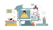 E-learning concepts. Online learning at home Students study at home using gadgets. Vector illustration
