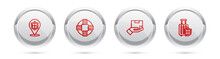 Set Line Location Shield, Lifebuoy, Delivery Insurance And Travel Suitcase With. Silver Circle Button. Vector.