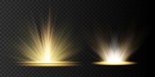 Light Highlight Yellow Special Effect With Rays Of Light And Magic Sparkles. Sun Ray . Glow Transparent Vector Light Effect Set,