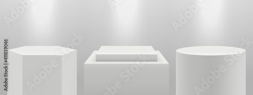 Obraz Realistic podiums. 3d pedestal in light, blank white expo stands vector set. Illustration stage podium, platform in light, pedestal blank - fototapety do salonu