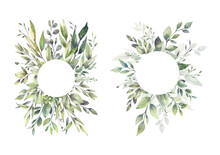 Watercolor Floral Illustration Set - Green Leaf Frame Collection, For Wedding Stationary, Greetings, Wallpapers, Fashion, Background. Eucalyptus, Olive, Green Leaves, Etc. High Quality Illustration