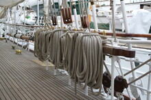 High Angle View Of Ropes Hanging On Boat Deck