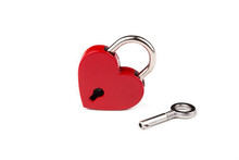 Red Heart Lock On The White Background. Valentine's Day Concept.