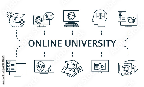 Fotografia Online University icon set