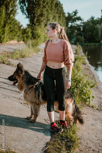 Fotografie, Tablou Full Length Of Woman With Dog