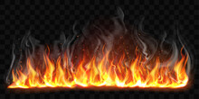 Vector Realistic Burning Fire Flames With Smoke