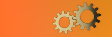 Abstract Orange Background With Two Golden Gears. Minimalistic Concept. 3D Visualization