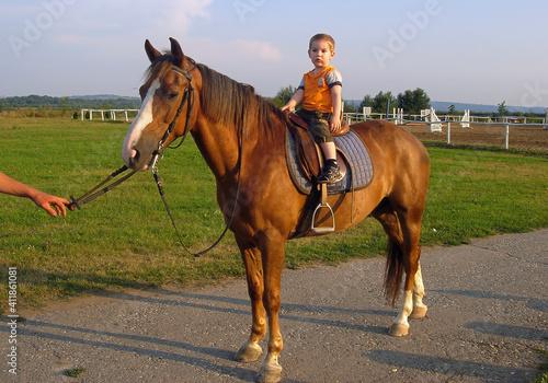 Obraz na plátne Boy Horse Riding Horses