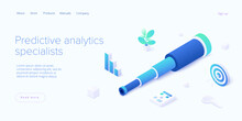 Predictive Analytics In Isometric Vector Illustration. Business Forecasting As Strategic Method Of Future Development. Spyglass As Metaphor Of Goal Strategy Or Prediction Analysis.