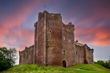 Sunset Over Doune Castle In The Stirling District, Scotland.