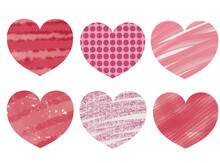 Valentine's Day Illustrations Set Of Different Hearts In A Hand-drawn Style. Pink And Red Hearts In An Abstract Style. Romantic Elements For The Design Of Invitations, Postcards