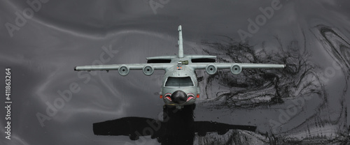 Papel de parede model of a military aircraft on a black background