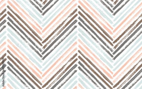 Tablou Canvas Brush stroke chevron zig zag seamless pattern.