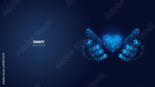 Fotografie, Tablou Abstract vector 3d human hands holding or giving heart symbol in dark blue