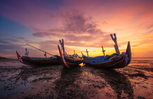 Three Traditional Boats On Beach At Sunset, Tuban, Bali, Indonesia